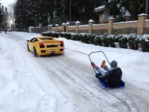 This is what Lamborghinis are for. Snow sleighs all day.