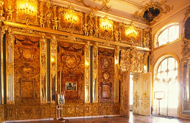 Amber room in Catherine the Great's Palace Tsarskoye Selo St Petersburg
