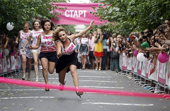 APTOPIX Russia High Heel Race