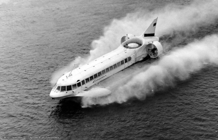 A gas-turbine hovercraft 'Sormovich' was built in 1965. During the tests  the 'Sormovich' reached  the speed of 120 km / h, went above the surface of the earth at a height of 0.25-0.3 m, it had easily overcame the shallow water and landed gently on the beach.