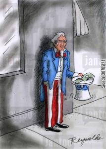 Uncle Sam begging for money