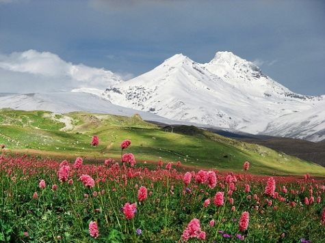 Mountains Of The Caucasus.Mountains of the Caucasus in summer day.