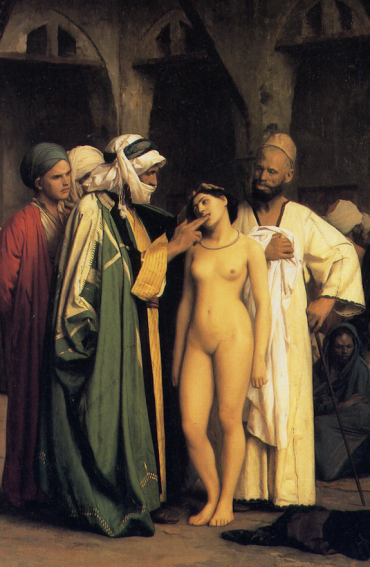 Testing a female captive's teeth in an eastern slave market.