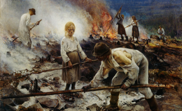 Life for forest Finns. This 1893 oil painting by Eero Jarnefelt is a late representation of an age-old way of life that had probably changed little since the days that Tatars from Astrakhan travelled half way across west Asia to raid the country for blonde children.