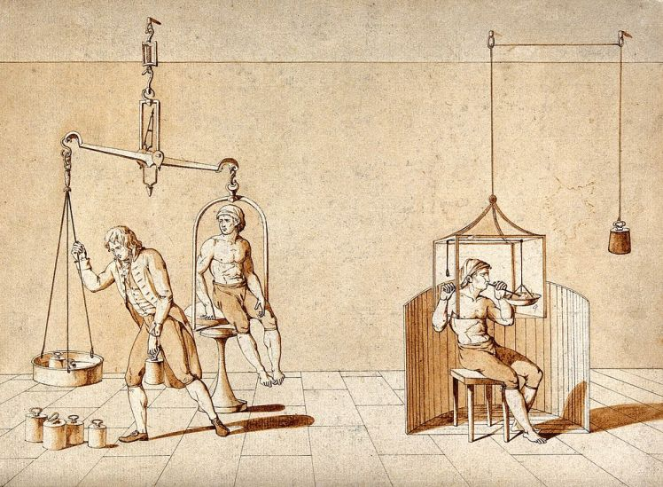 a_man_being_weighed_on_a_huge_set_of_scales_and_a_man_with_wellcome_v0025585
